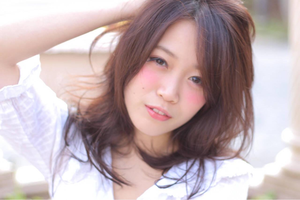 レイヤーカット ハイライト ガーリー 大人かわいいヘアスタイルや髪型の写真・画像