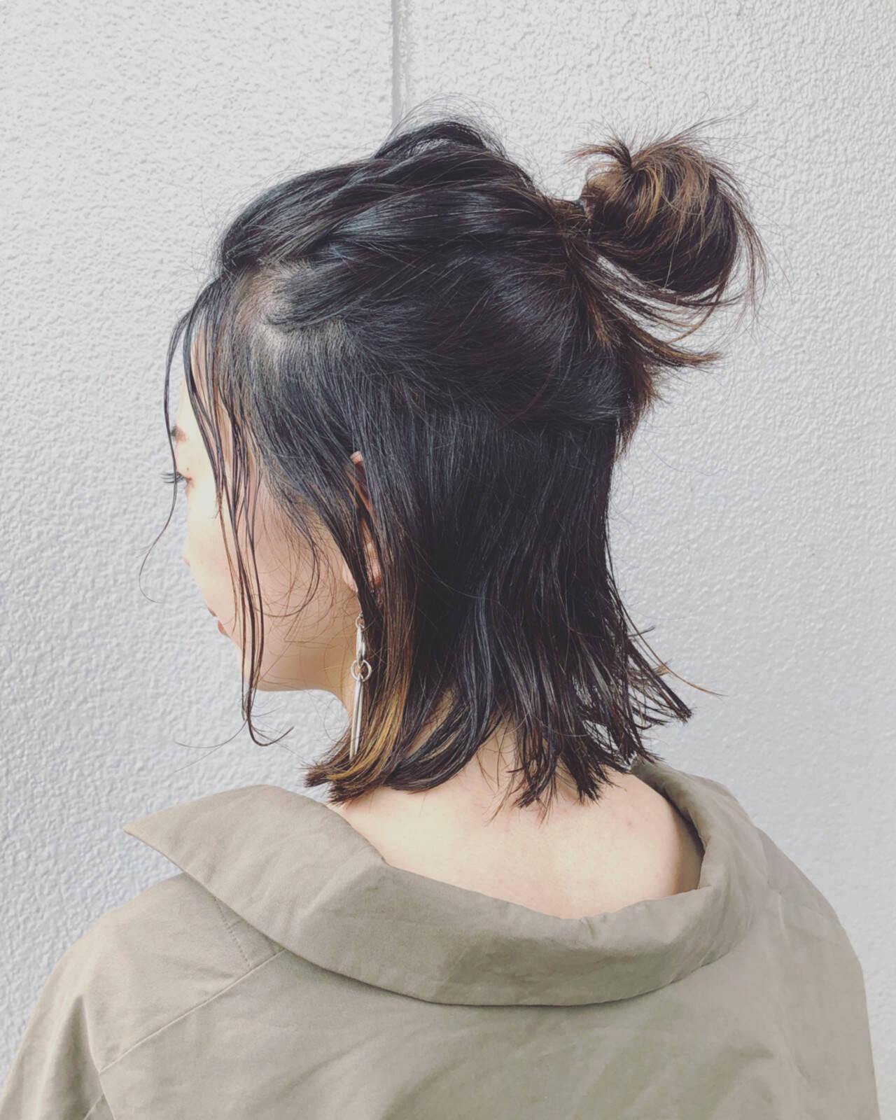 ヘアアレンジ ハーフアップ お団子 ストリートヘアスタイルや髪型の写真・画像