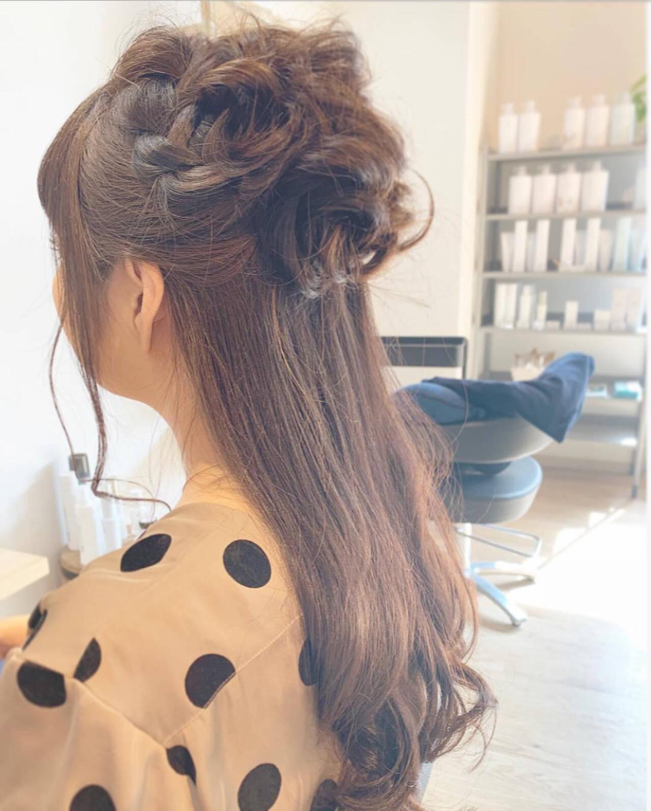 オフィス 簡単ヘアアレンジ デート セミロングヘアスタイルや髪型の写真・画像