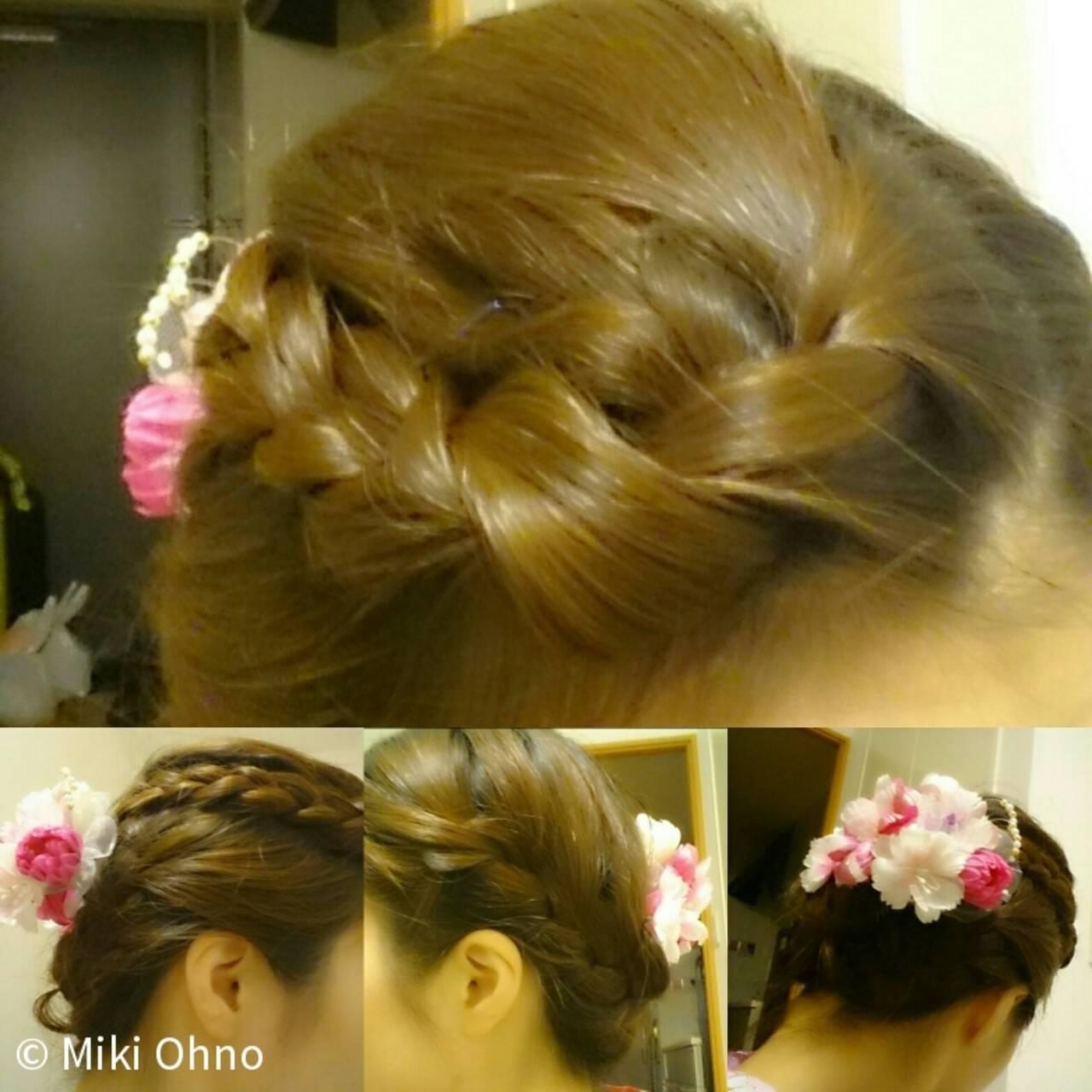 お祭り 三つ編み ヘアアレンジ 花火大会ヘアスタイルや髪型の写真・画像