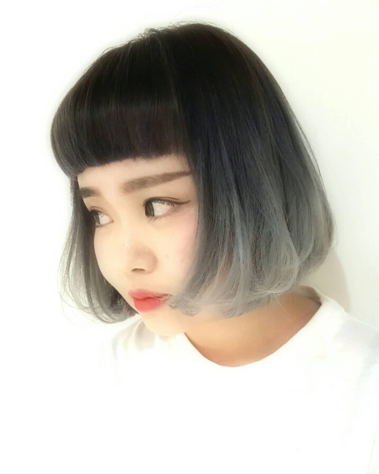 ストリート 前髪あり 外国人風 グラデーションカラーヘアスタイルや髪型の写真・画像