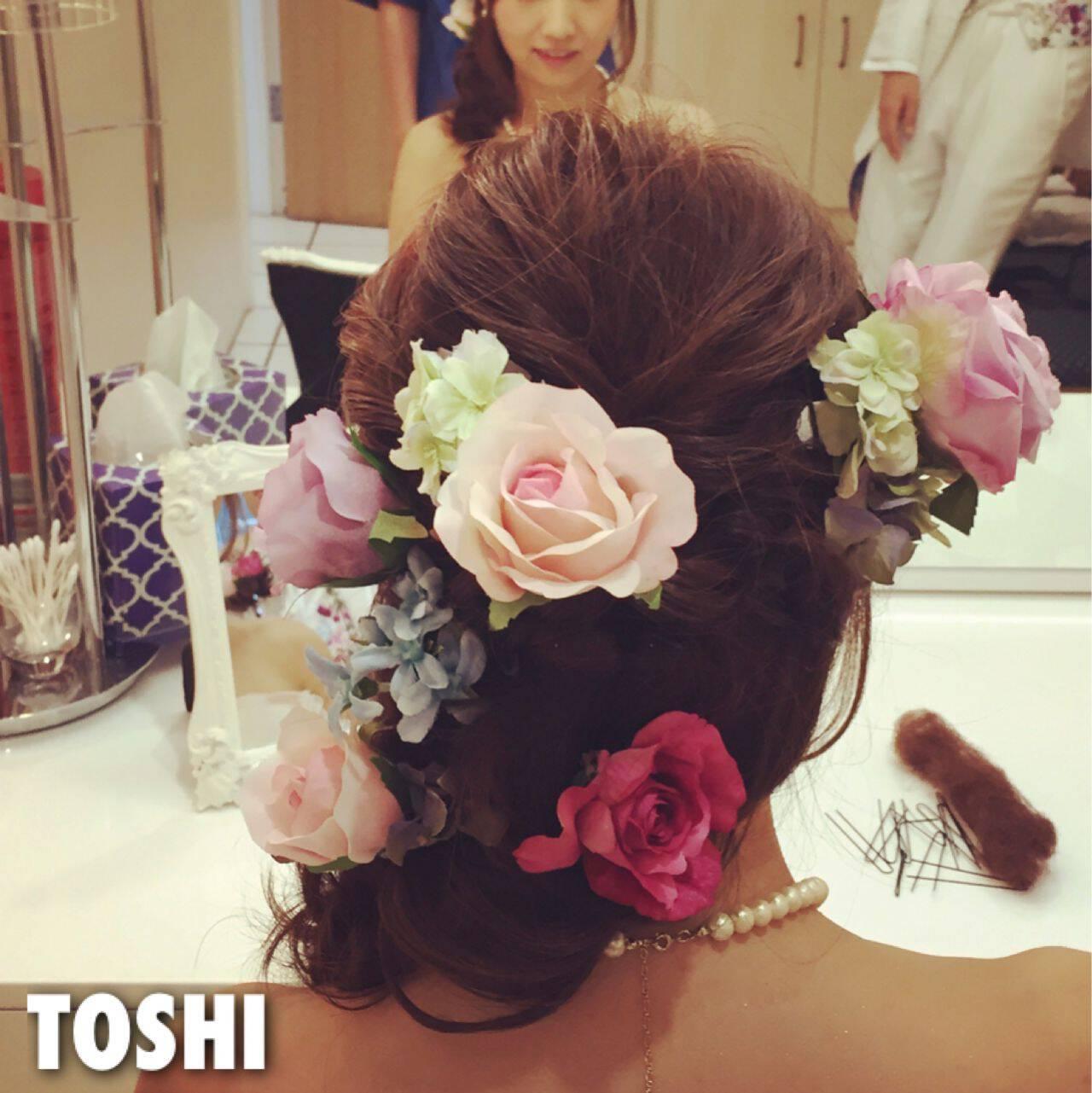 ガーリー 結婚式 フィッシュボーン ロングヘアスタイルや髪型の写真・画像