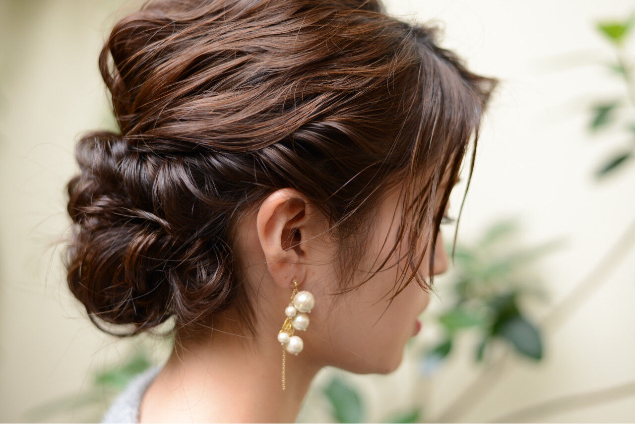 パーティ ミディアム ヘアアレンジ 結婚式ヘアスタイルや髪型の写真・画像