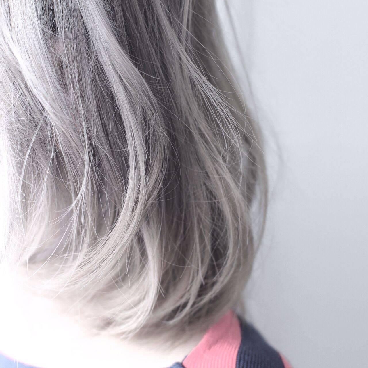 ボブ ブリーチヘアスタイルや髪型の写真・画像