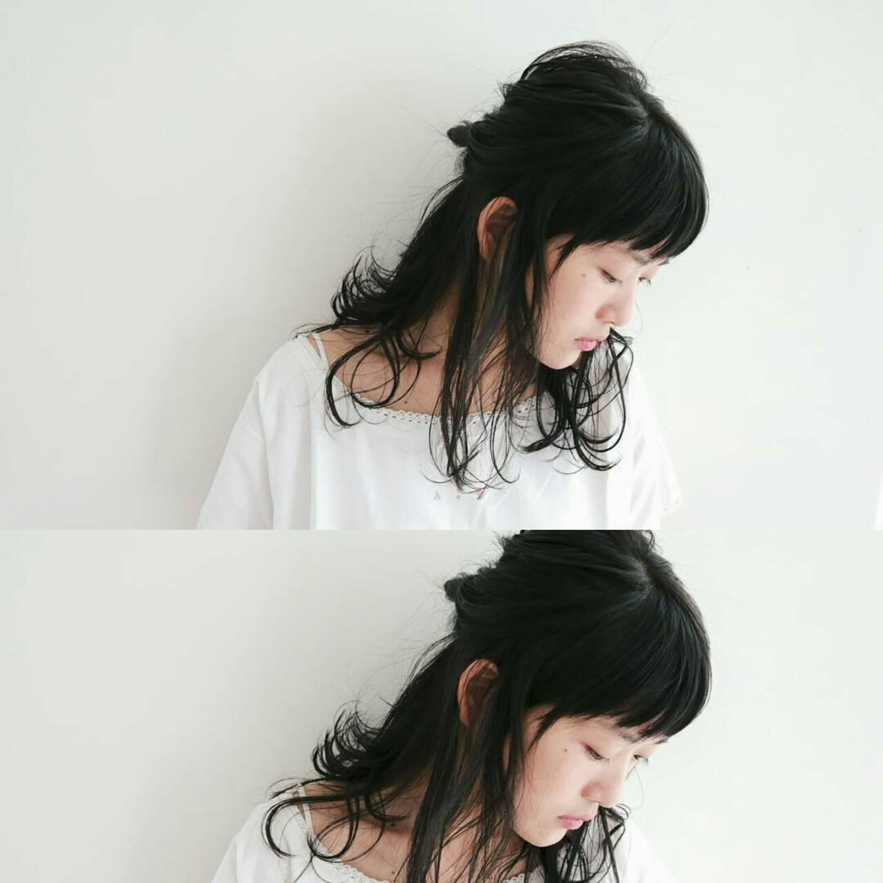 ヘアアレンジ セミロング デート 小顔ヘアスタイルや髪型の写真・画像