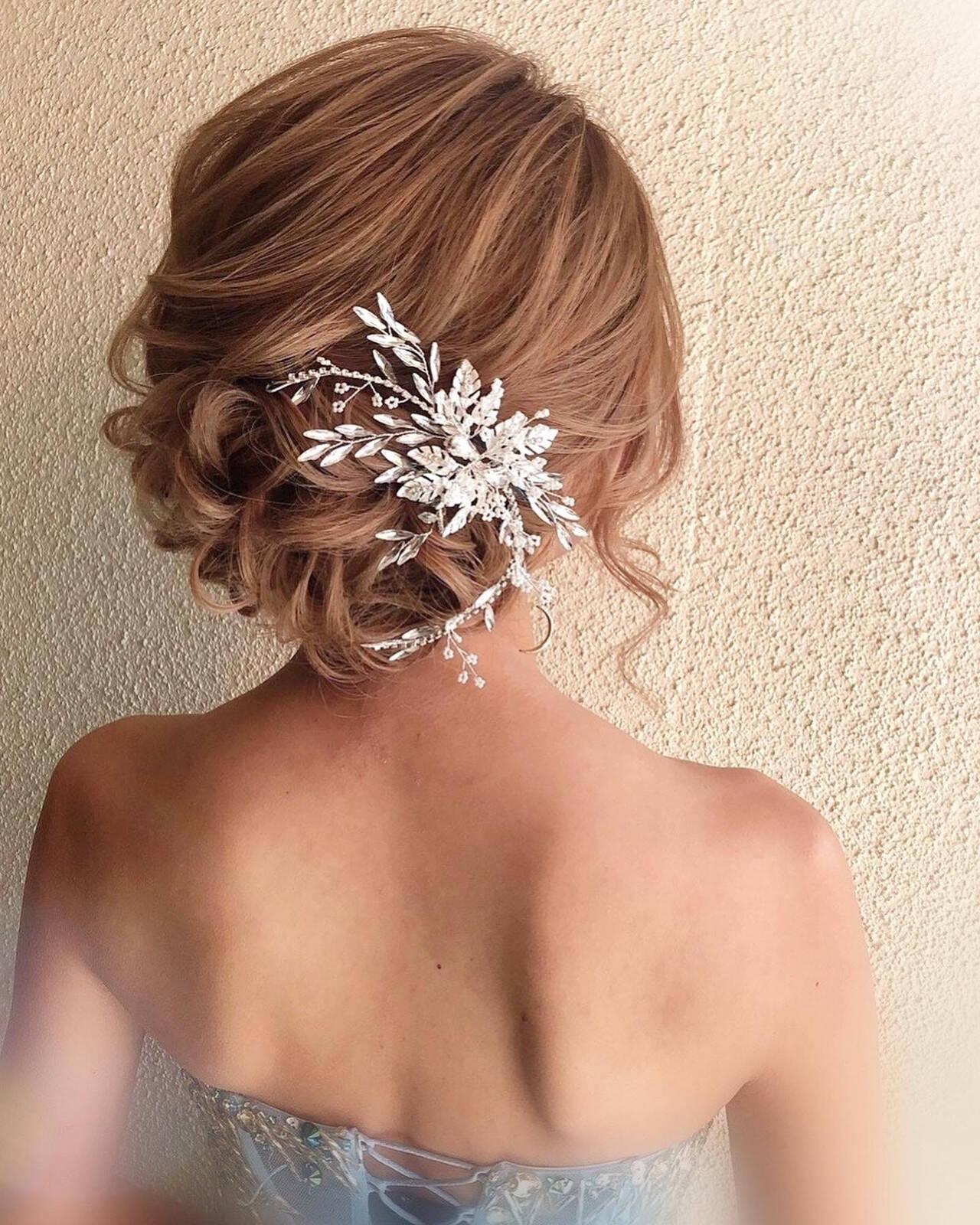 成人式ヘア 結婚式 ナチュラル 簡単ヘアアレンジヘアスタイルや髪型の写真・画像