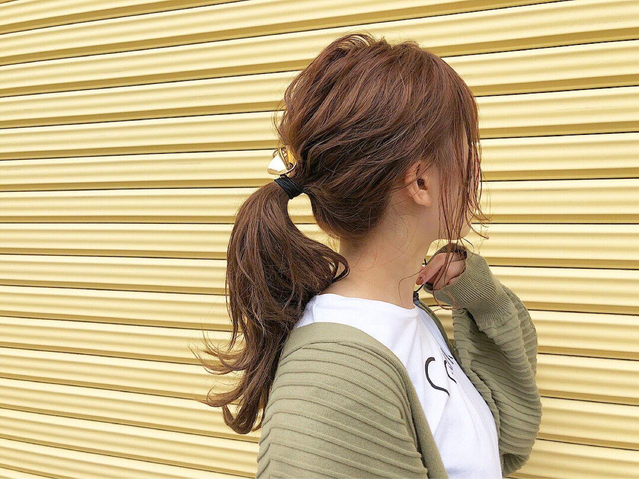 アウトドア ヘアアレンジ セミロング 簡単ヘアアレンジヘアスタイルや髪型の写真・画像