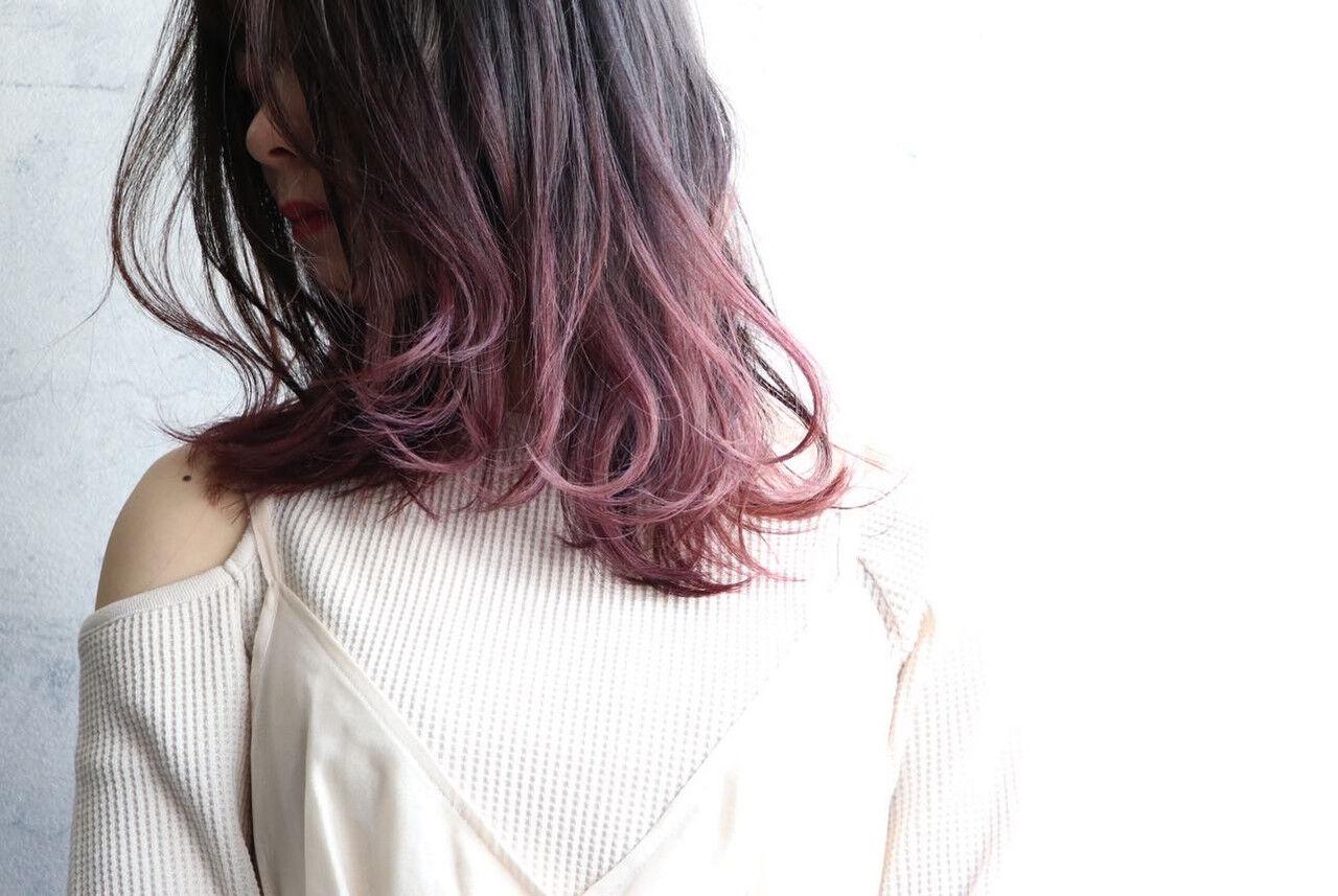 ピンクベージュ ピンク ラベンダーピンク ベリーピンクヘアスタイルや髪型の写真・画像