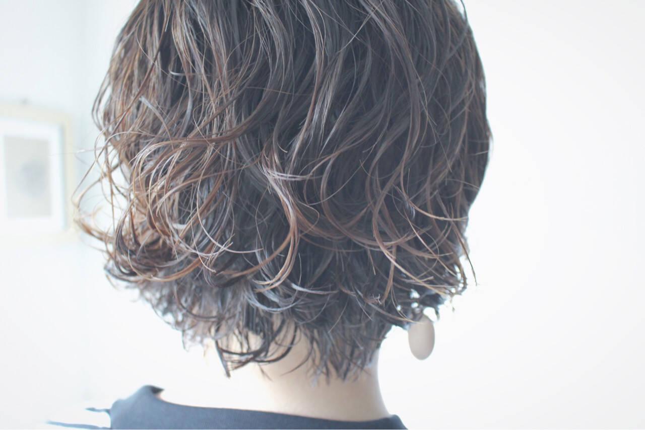 ボブ 簡単 パーマ ナチュラルヘアスタイルや髪型の写真・画像