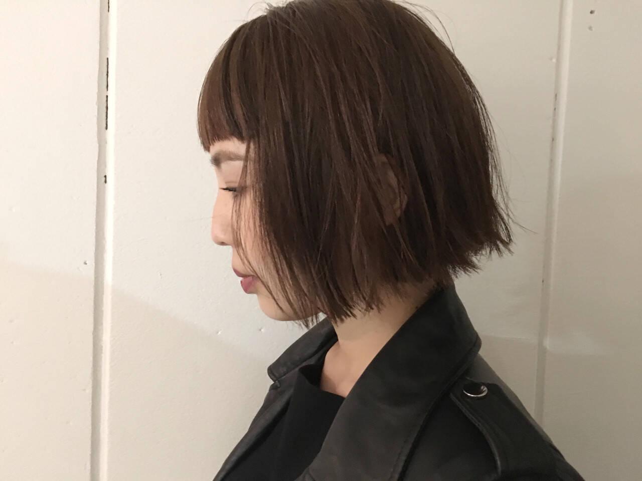 モード ボブ 切りっぱなし アッシュヘアスタイルや髪型の写真・画像