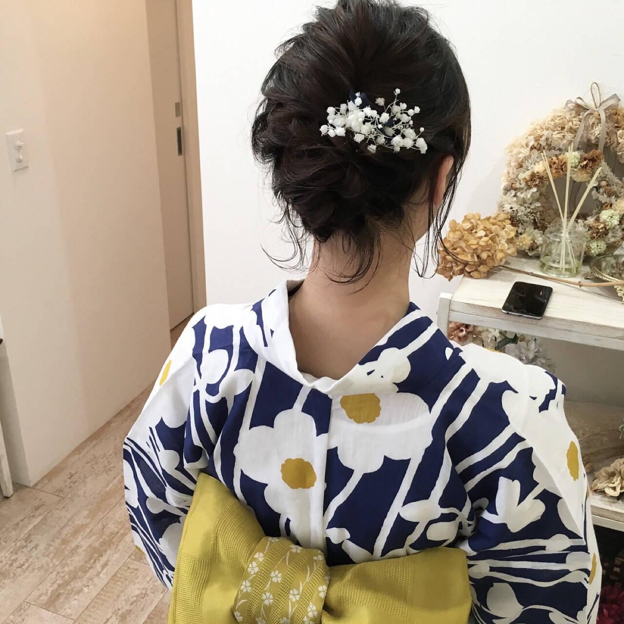 お祭り 夏 花火大会 結婚式ヘアスタイルや髪型の写真・画像