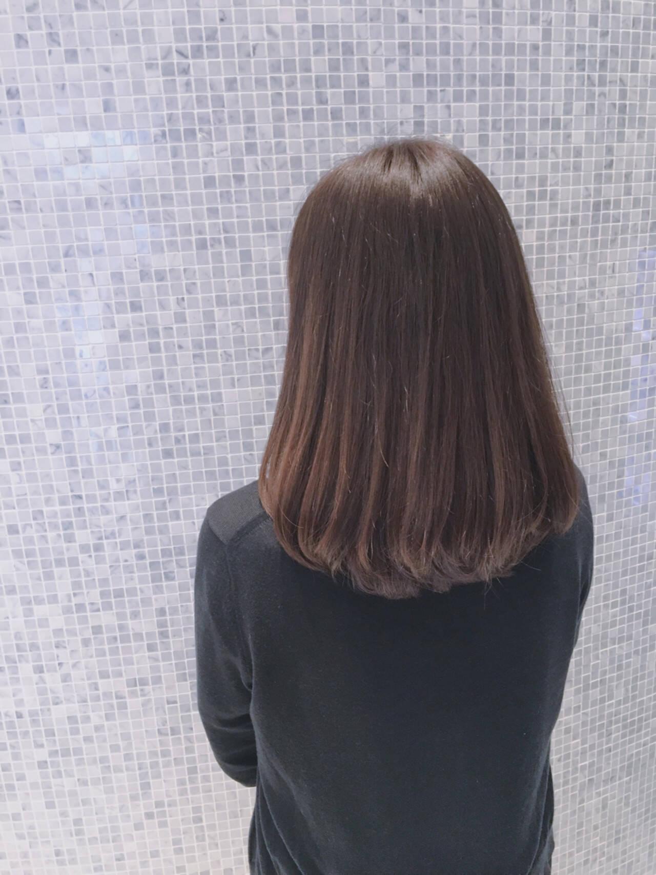 ナチュラル 簡単 ミディアム グラデーションカラーヘアスタイルや髪型の写真・画像
