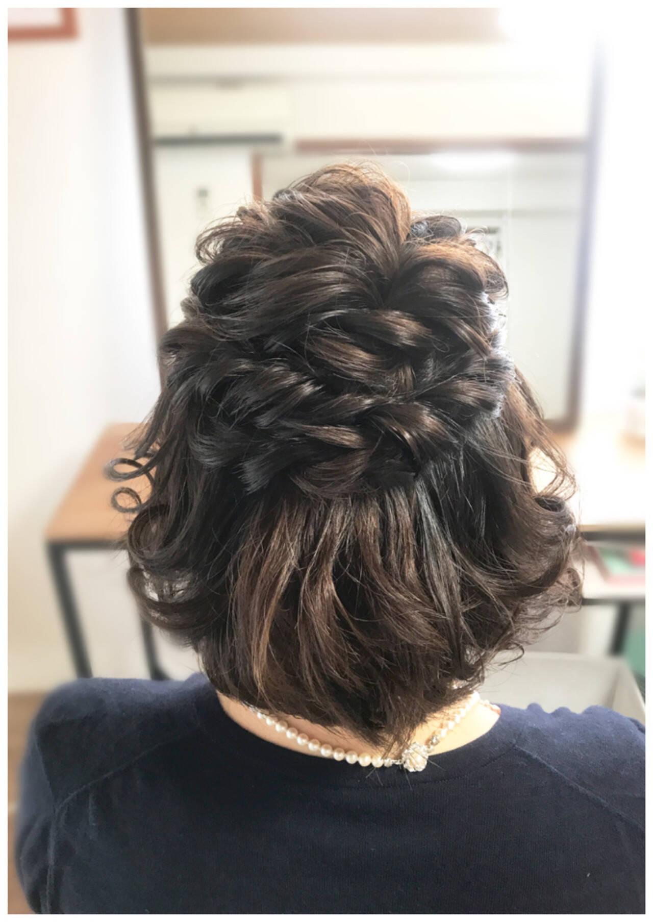 上品 結婚式 ハーフアップ エレガントヘアスタイルや髪型の写真・画像