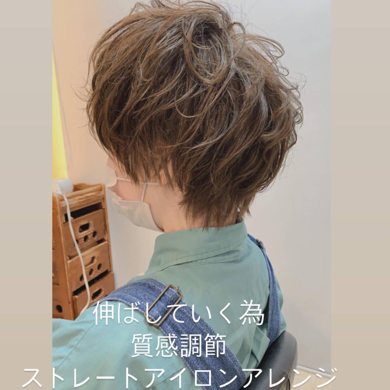 ベリーショート ナチュラル ショートボブ ウルフカットヘアスタイルや髪型の写真・画像