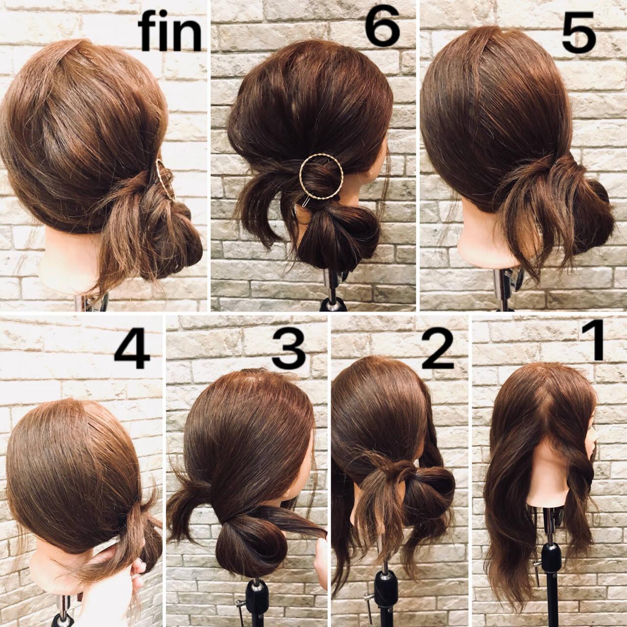 デート オフィス ミディアム 簡単ヘアアレンジヘアスタイルや髪型の写真・画像
