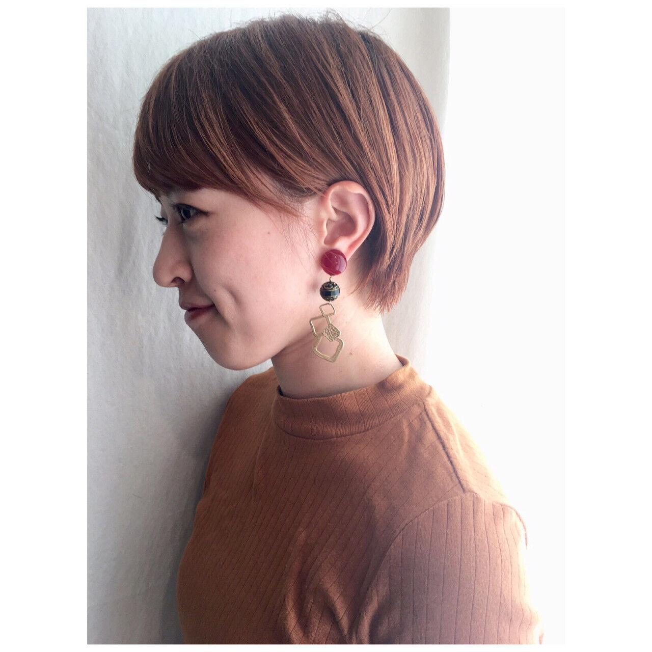 ミニボブ ナチュラル ショート ショートボブヘアスタイルや髪型の写真・画像