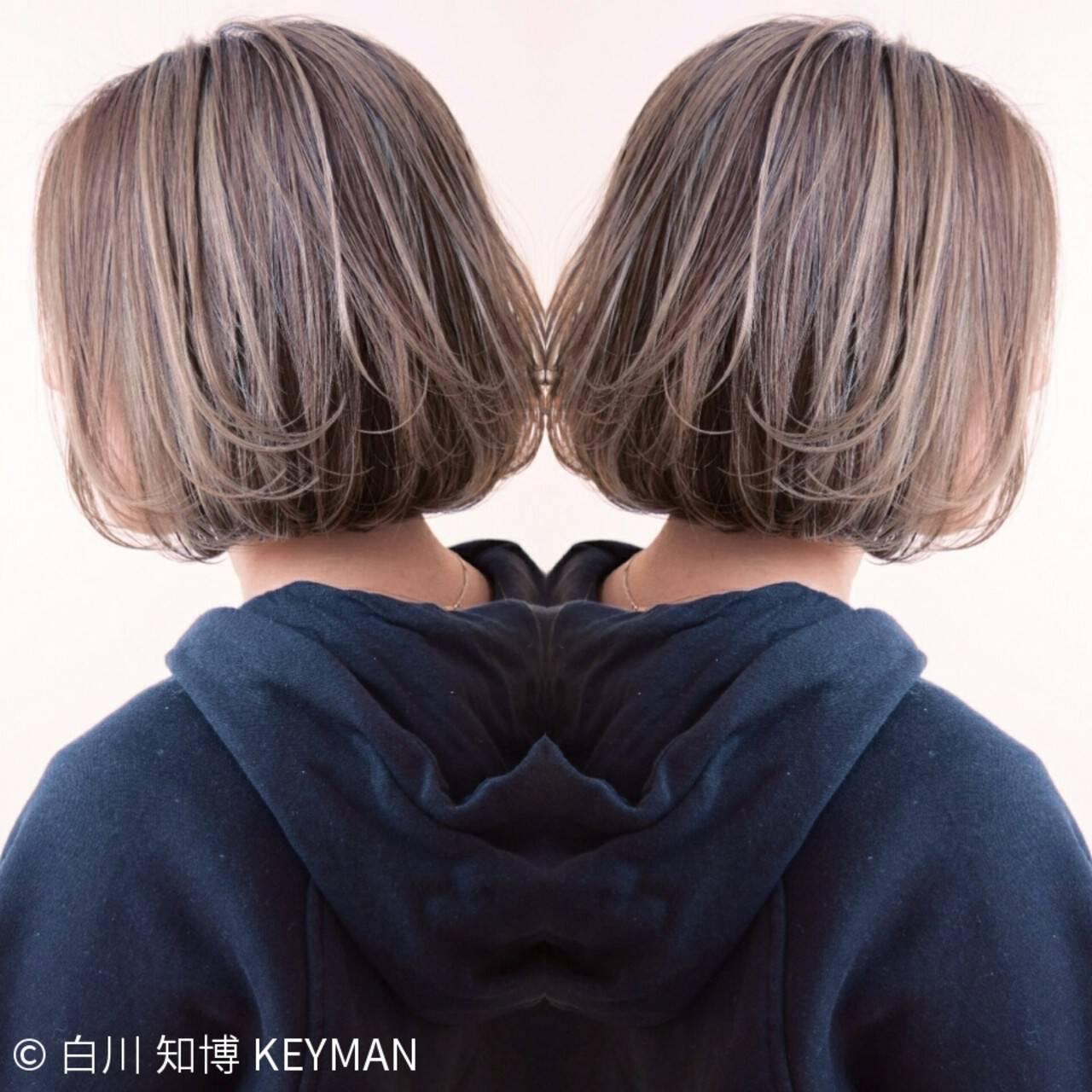 ハイライト ストリート 色気 ボブヘアスタイルや髪型の写真・画像