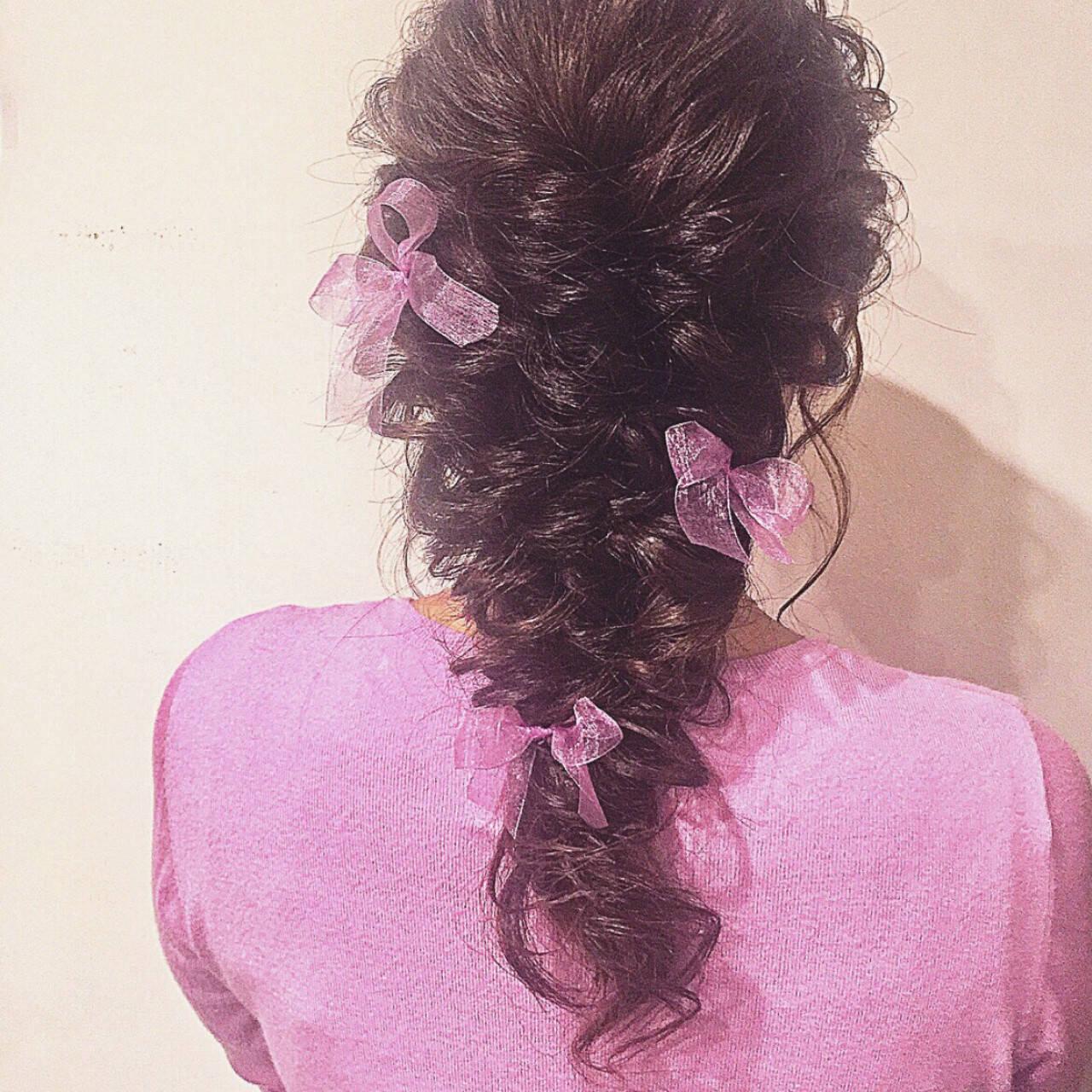 結婚式 ロング ヘアアレンジ フェミニンヘアスタイルや髪型の写真・画像