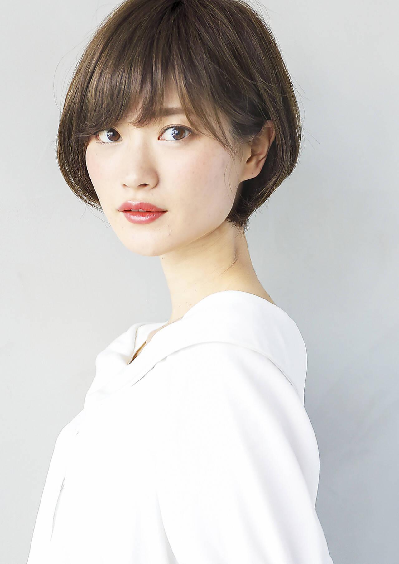 ショート ナチュラル ショートボブ 前髪ありヘアスタイルや髪型の写真・画像