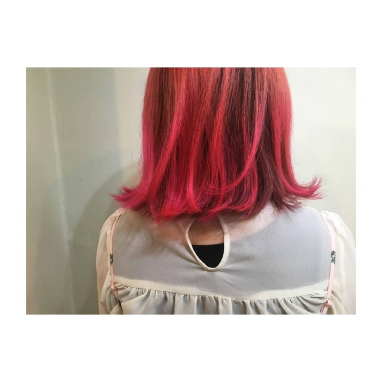 ピンク オレンジ アッシュバイオレット ボブヘアスタイルや髪型の写真・画像