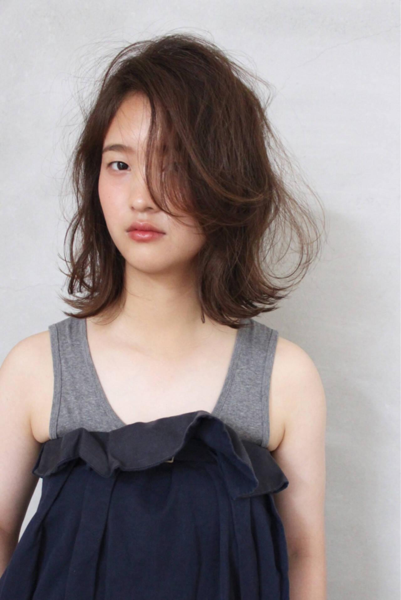 ゆるふわ 大人かわいい ミディアム パーマヘアスタイルや髪型の写真・画像