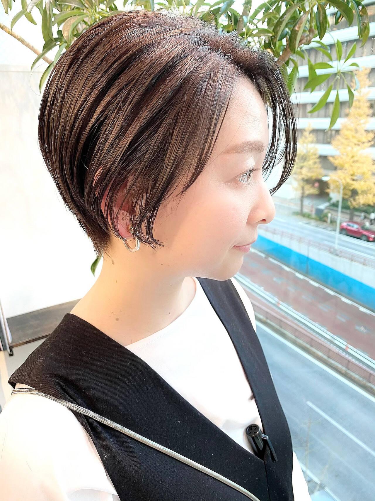 ショート 大人かわいい ナチュラル ベリーショートヘアスタイルや髪型の写真・画像