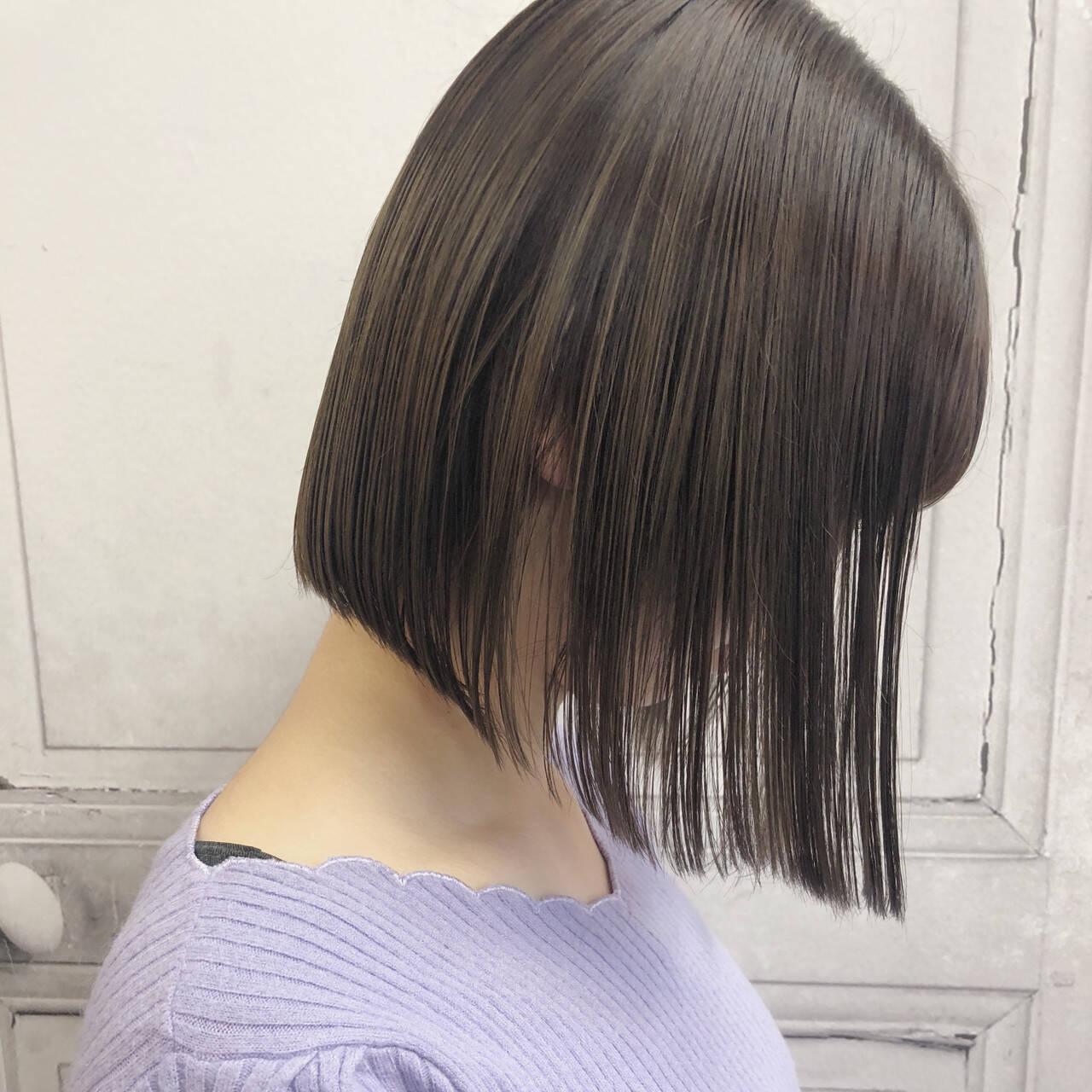 ボブ デート ナチュラル イルミナカラーヘアスタイルや髪型の写真・画像