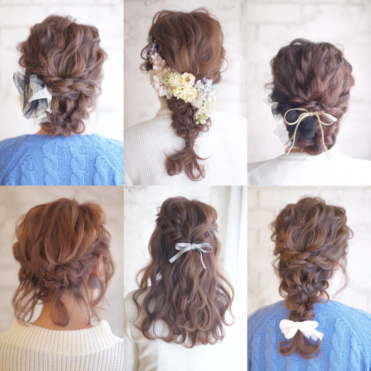 セミロング ヘアアレンジ 大人かわいい 結婚式ヘアスタイルや髪型の写真・画像