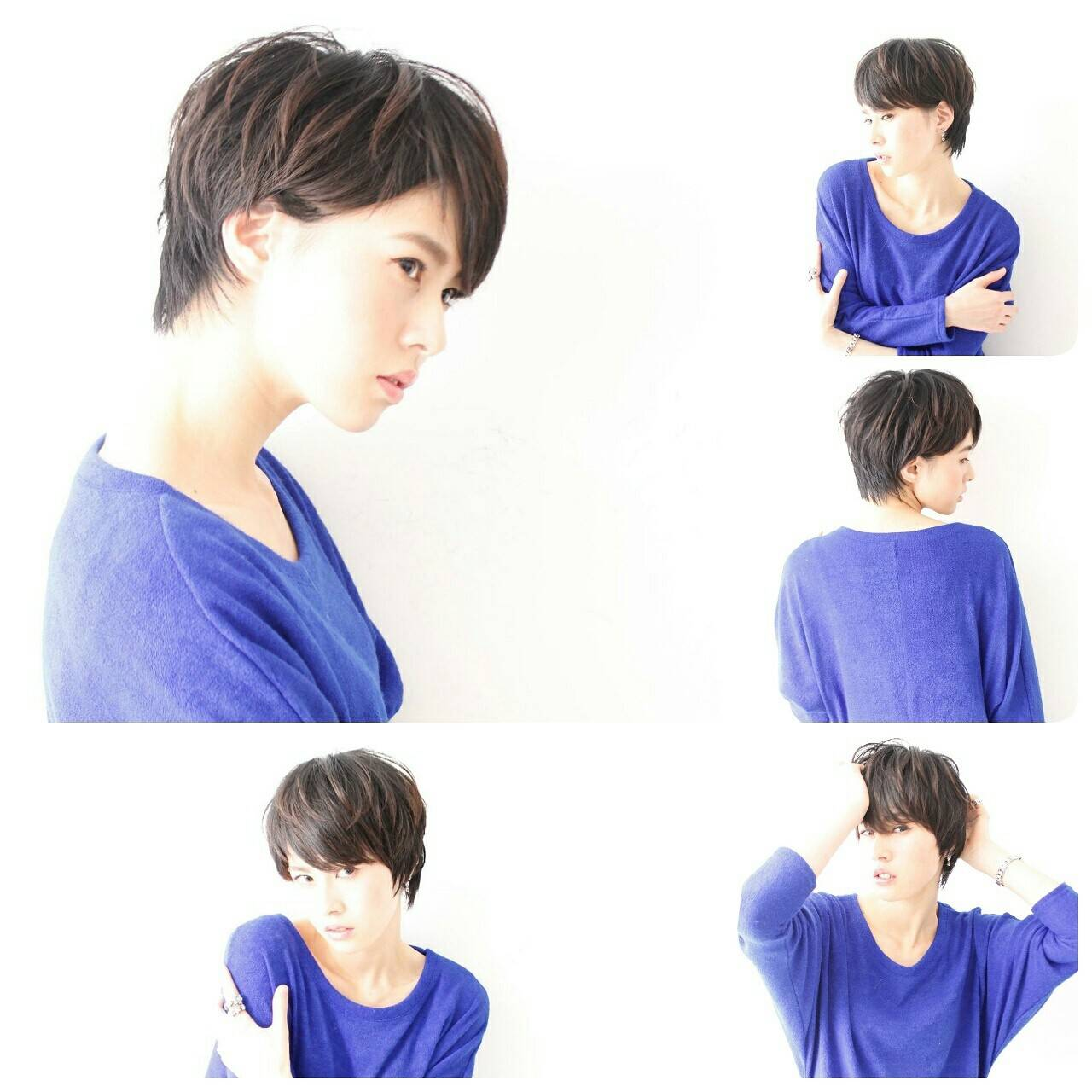 大人女子 ショート 黒髪 コンサバヘアスタイルや髪型の写真・画像