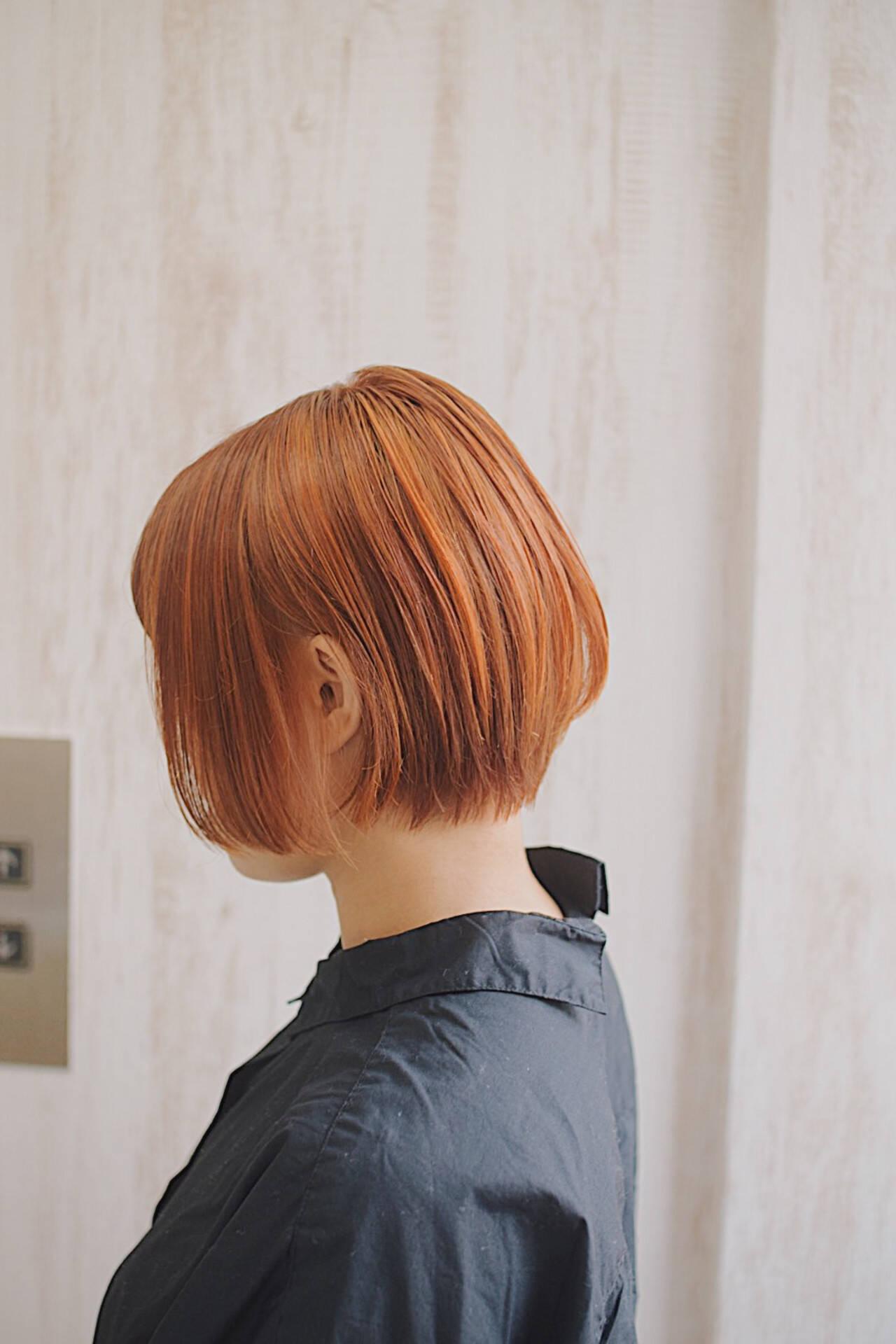 アプリコットオレンジ フェミニン ミルクティーベージュ ショートボブヘアスタイルや髪型の写真・画像