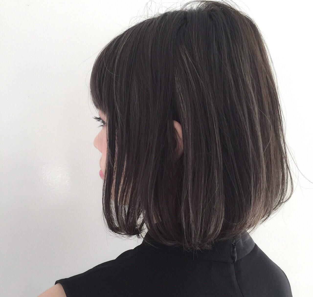 ストリート アッシュ ボブ ハイライトヘアスタイルや髪型の写真・画像