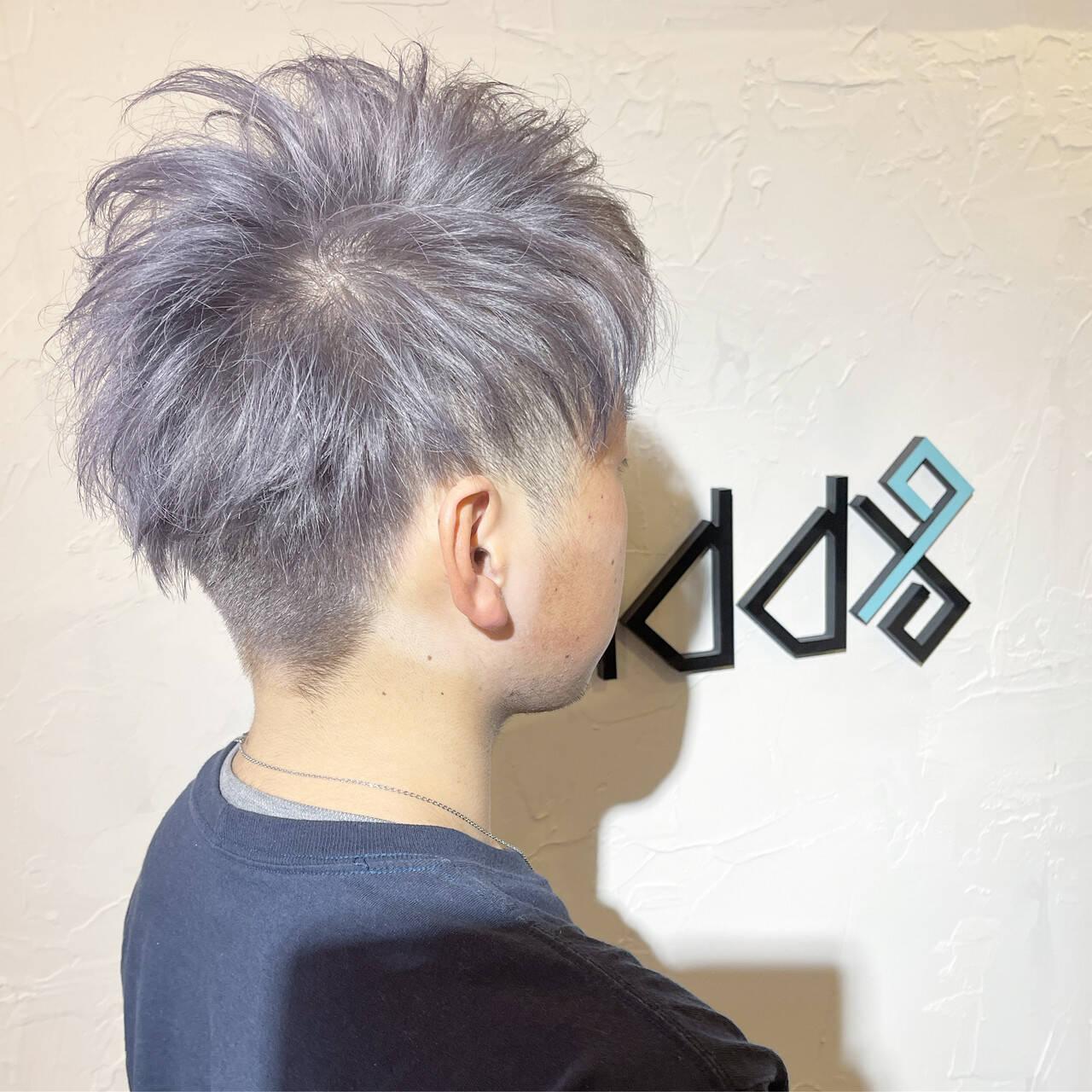 ショート シルバー ホワイトシルバー シルバーアッシュヘアスタイルや髪型の写真・画像