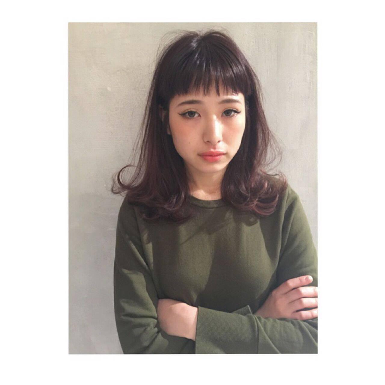 春 モード セミロング パンクヘアスタイルや髪型の写真・画像