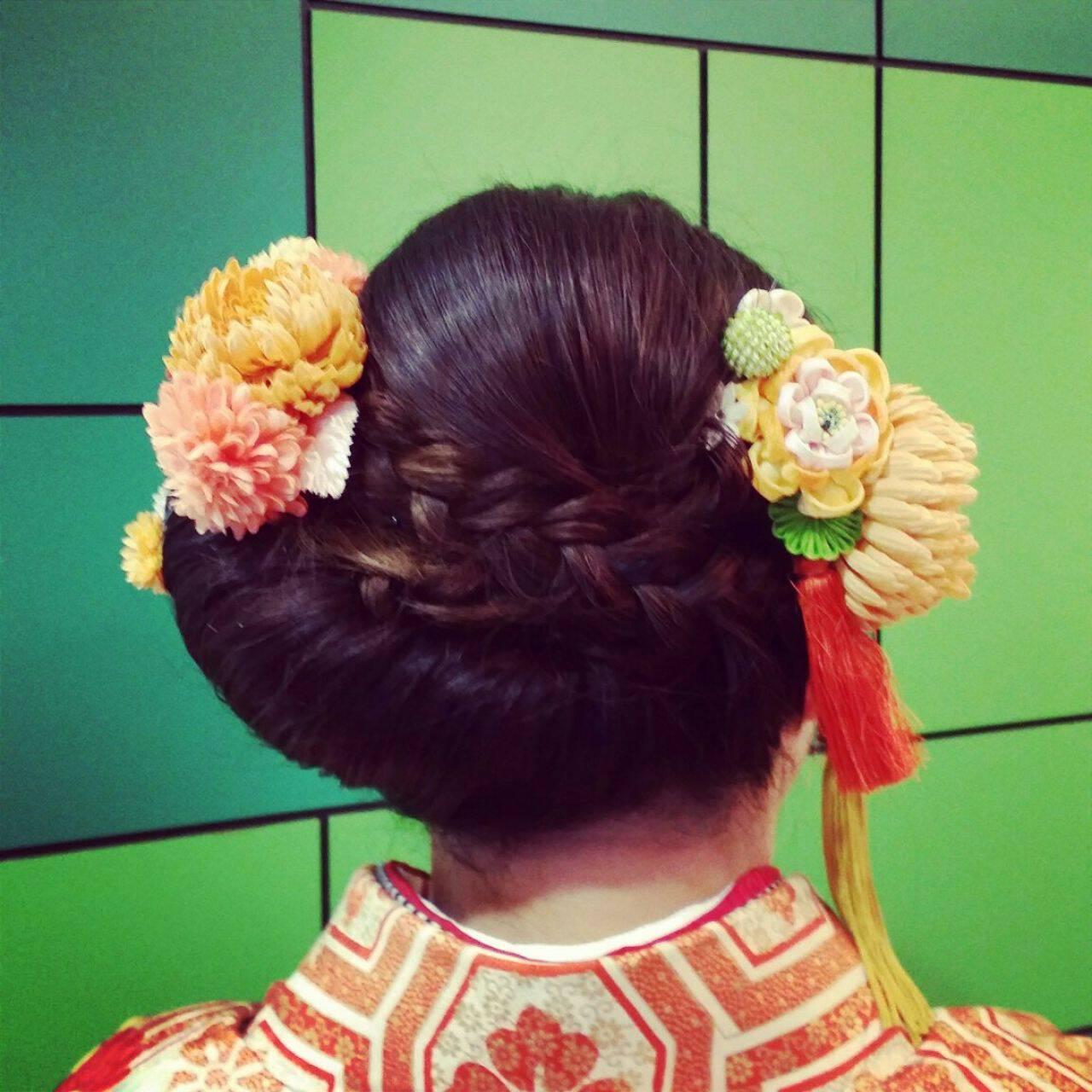 和装 ヘアアレンジ 大人かわいい 成人式ヘアスタイルや髪型の写真・画像