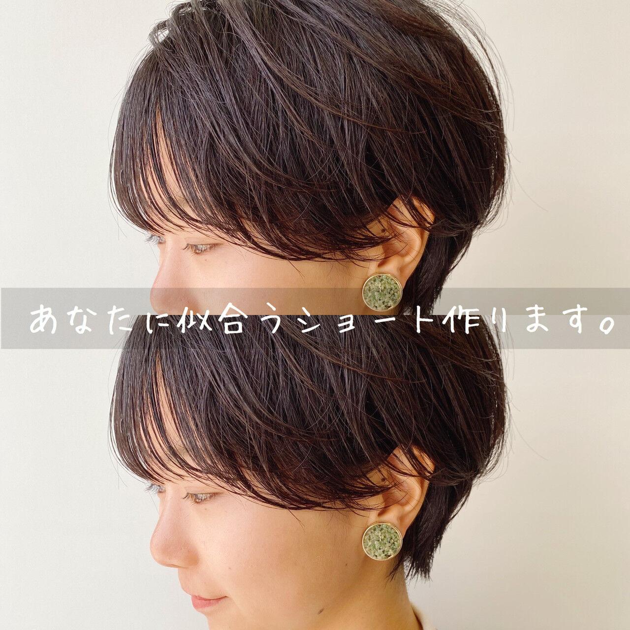 ショートボブ ナチュラル ショートヘア 大人ショートヘアスタイルや髪型の写真・画像