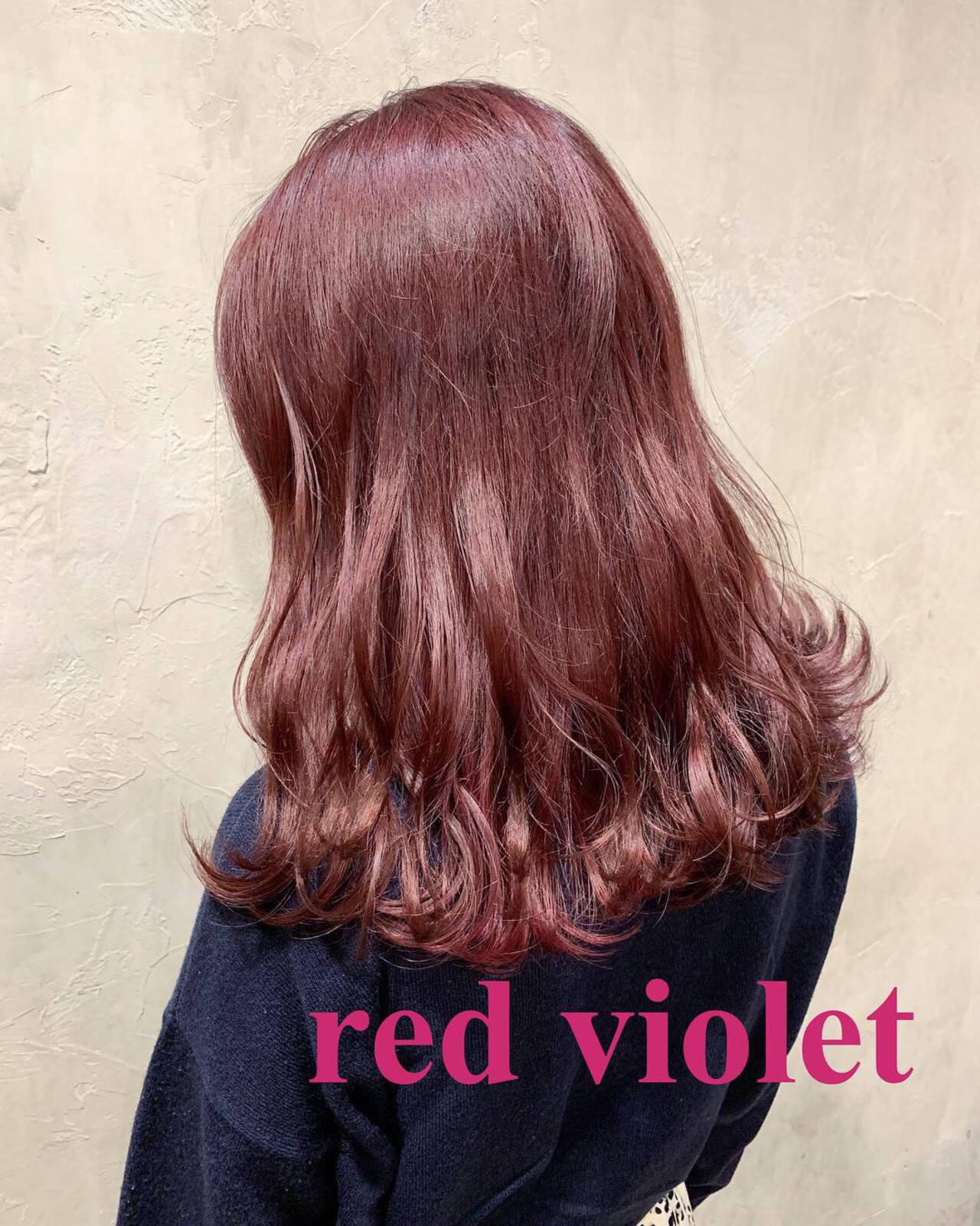 ピンクパープル ラベンダーピンク ピンクラベンダー ガーリーヘアスタイルや髪型の写真・画像