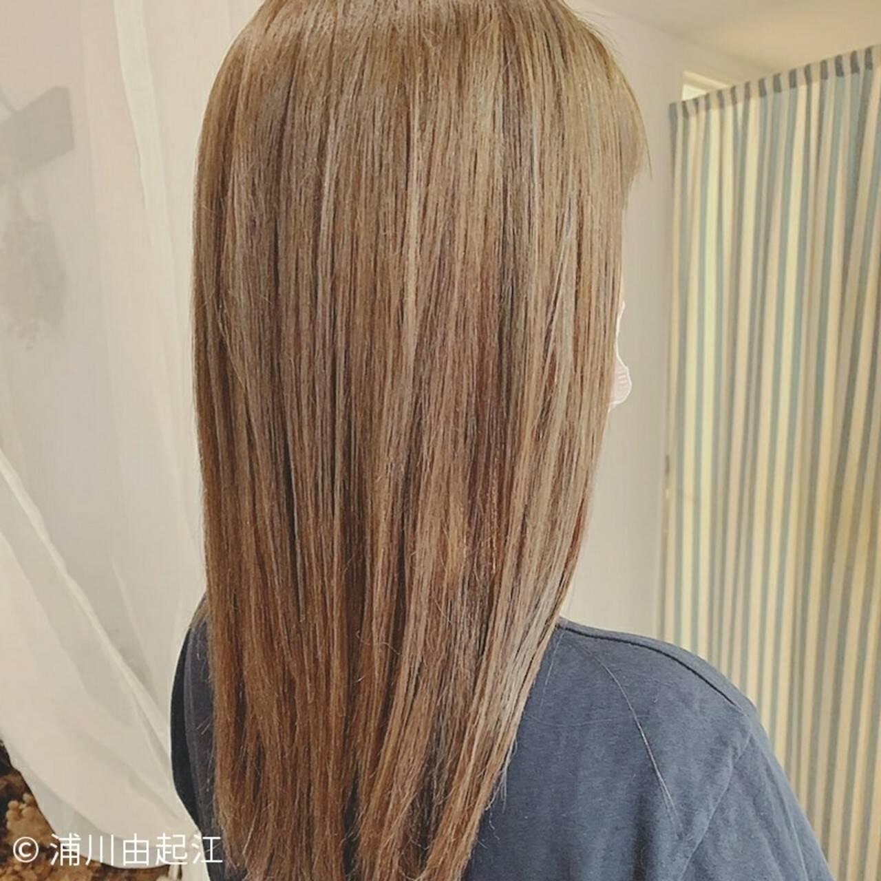 ストレート デート ナチュラル ハイライトヘアスタイルや髪型の写真・画像