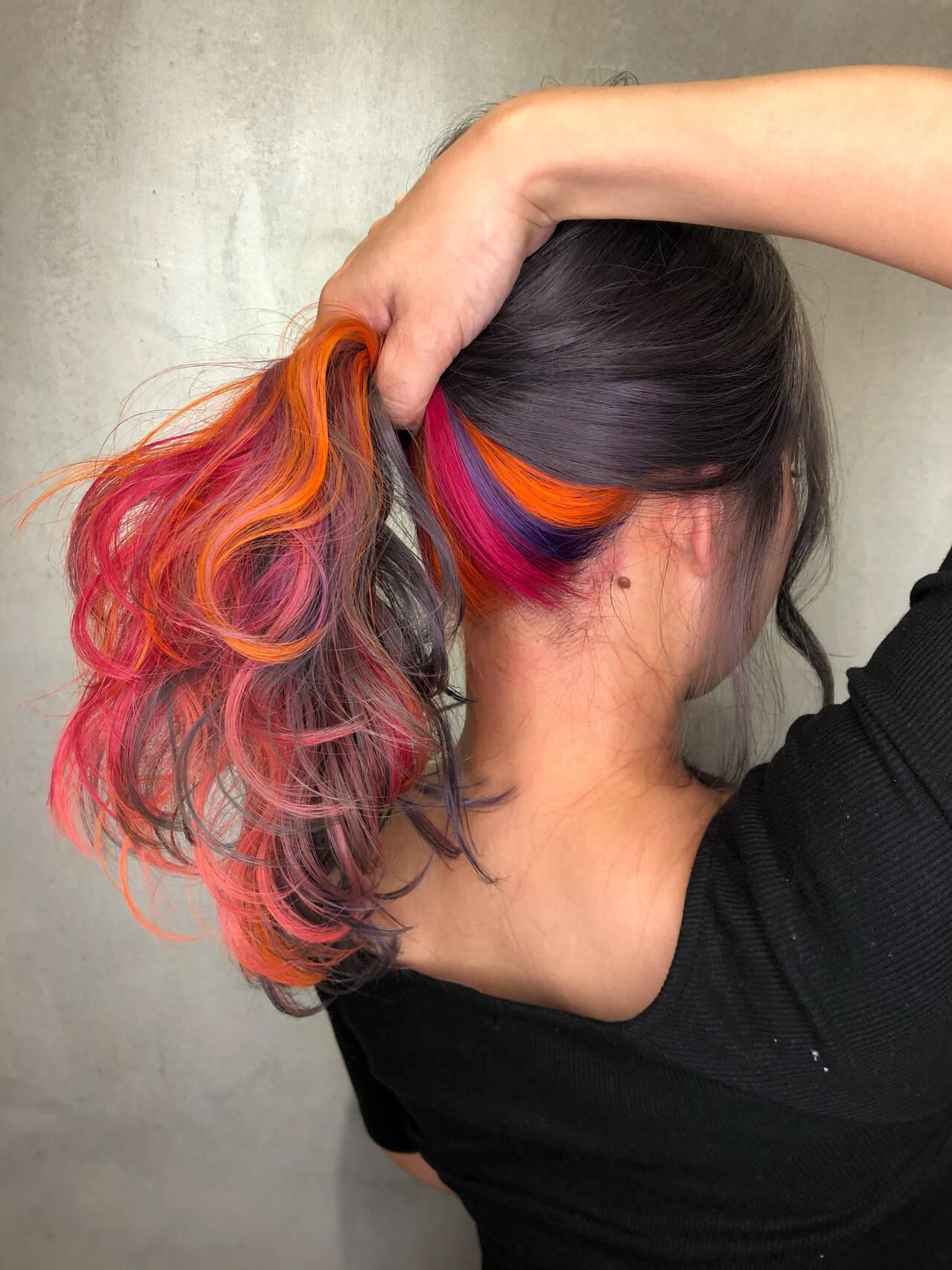 カラフルカラー ユニコーンカラー インナーカラー ストリートヘアスタイルや髪型の写真・画像