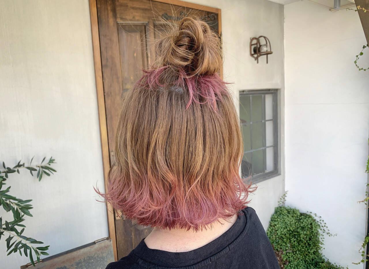 ヘアアレンジ ミニボブ ナチュラル ボブヘアスタイルや髪型の写真・画像