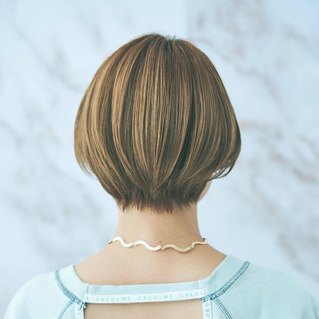 ナチュラル マッシュショート 大人ショート ハンサムヘアスタイルや髪型の写真・画像