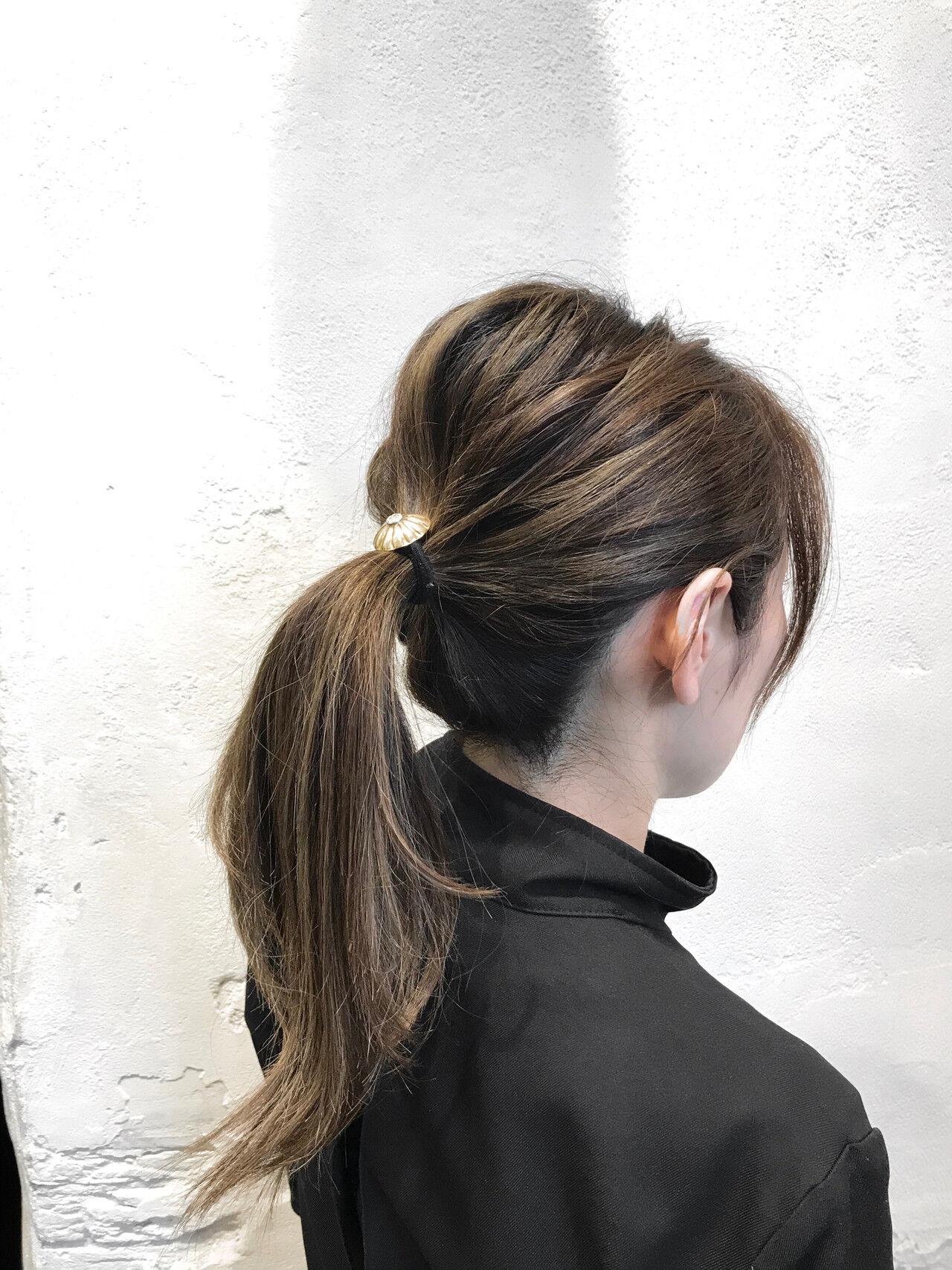 3Dハイライト ハイライト アッシュ ポニーテールヘアスタイルや髪型の写真・画像