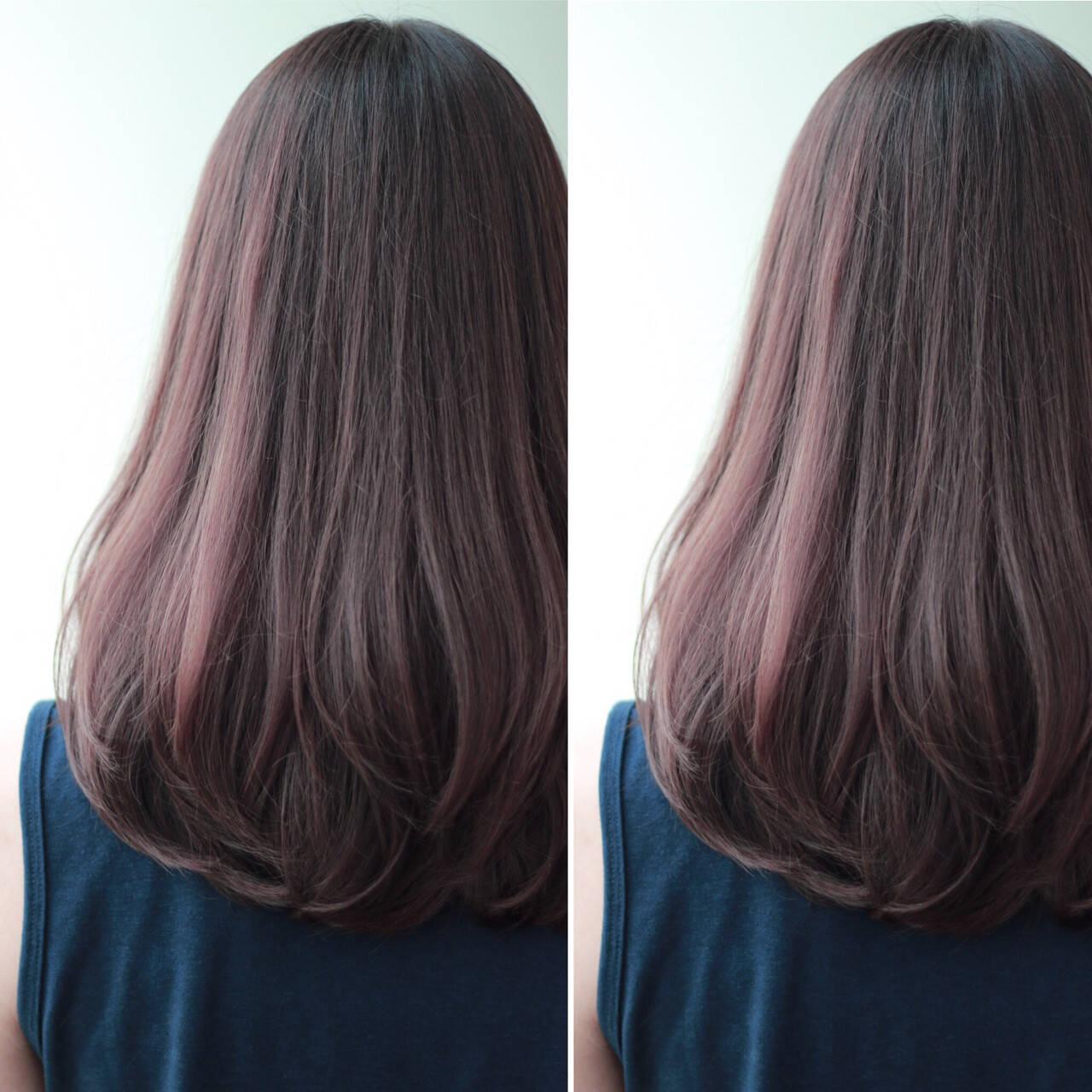ゆるふわ ロング グラデーションカラー 暗髪ヘアスタイルや髪型の写真・画像