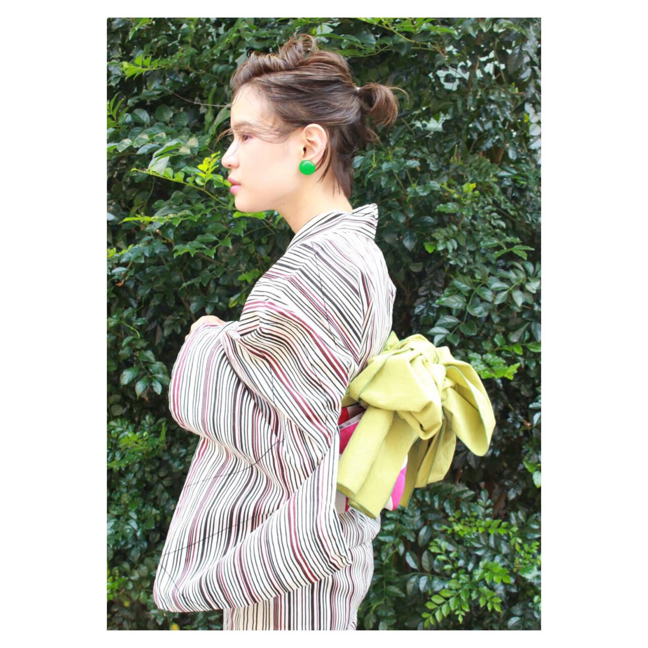 和装 ショート 夏 ヘアアレンジヘアスタイルや髪型の写真・画像