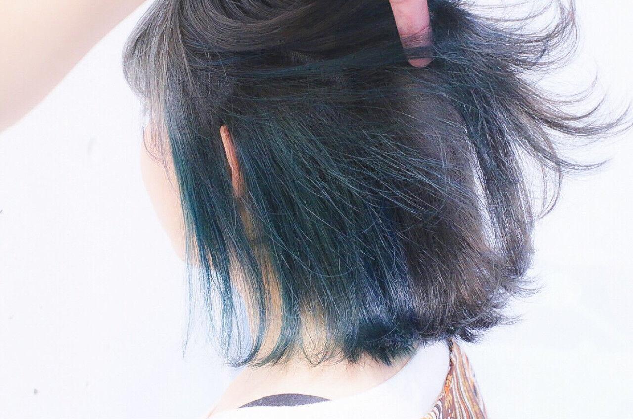 ボブ ストリート グラデーションカラー ダブルカラーヘアスタイルや髪型の写真・画像