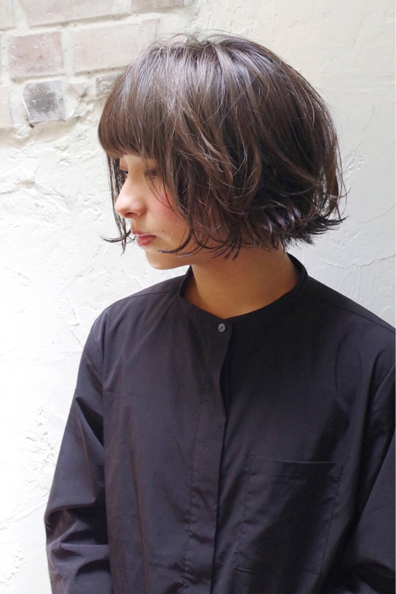 ナチュラル ボブ 前髪あり 大人かわいいヘアスタイルや髪型の写真・画像