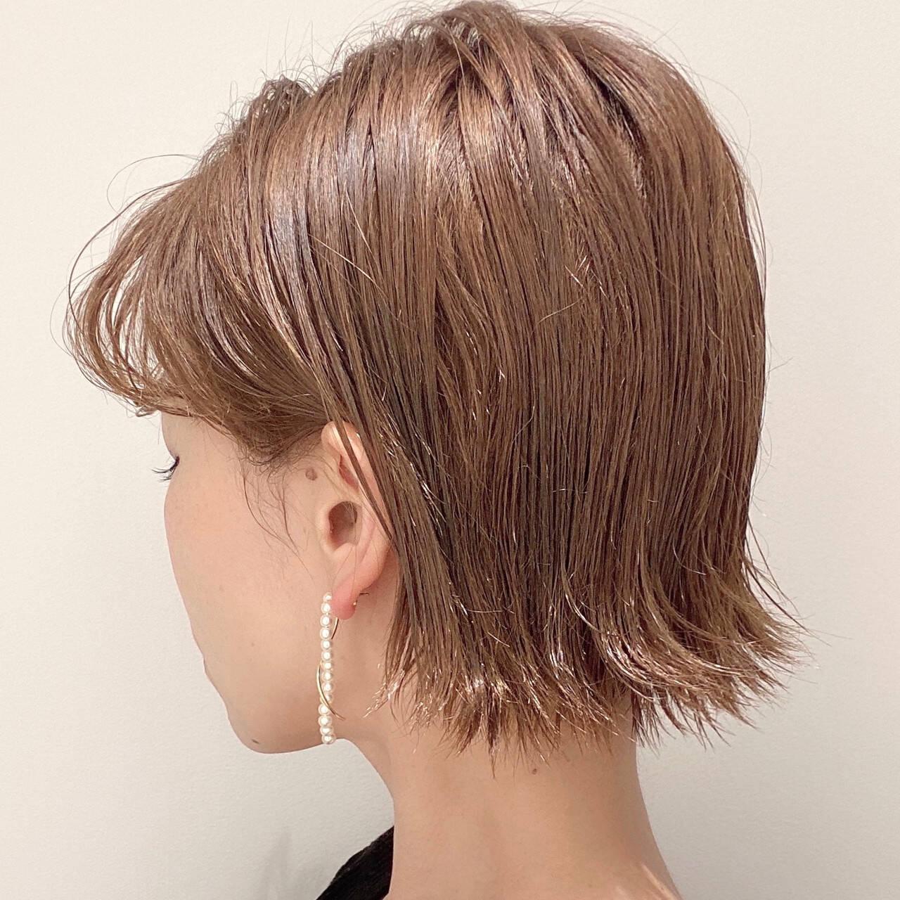 切りっぱなしボブ ナチュラル ショート女子 ボブヘアスタイルや髪型の写真・画像