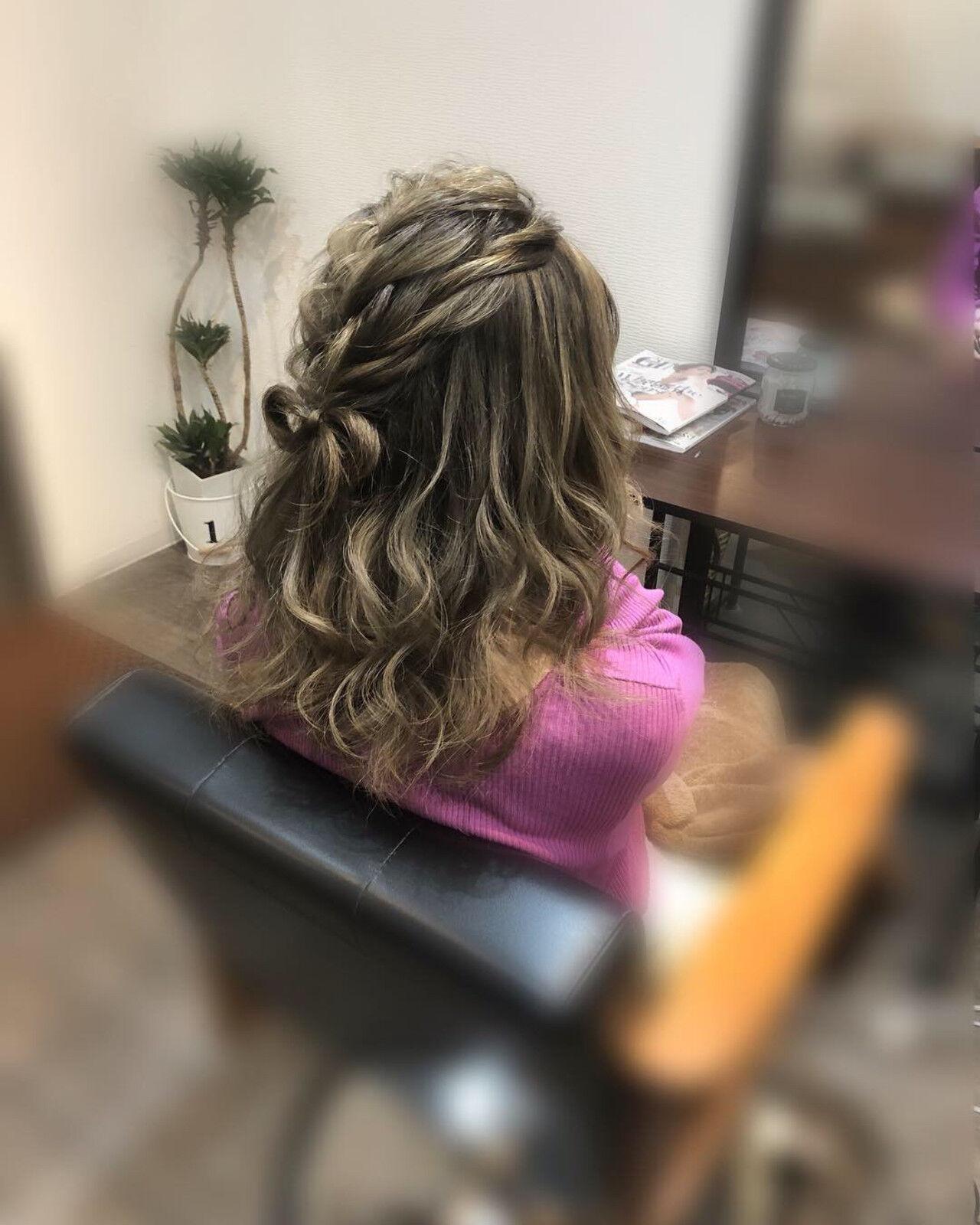 編み込み ヘアセット ガーリー ヘアアレンジヘアスタイルや髪型の写真・画像