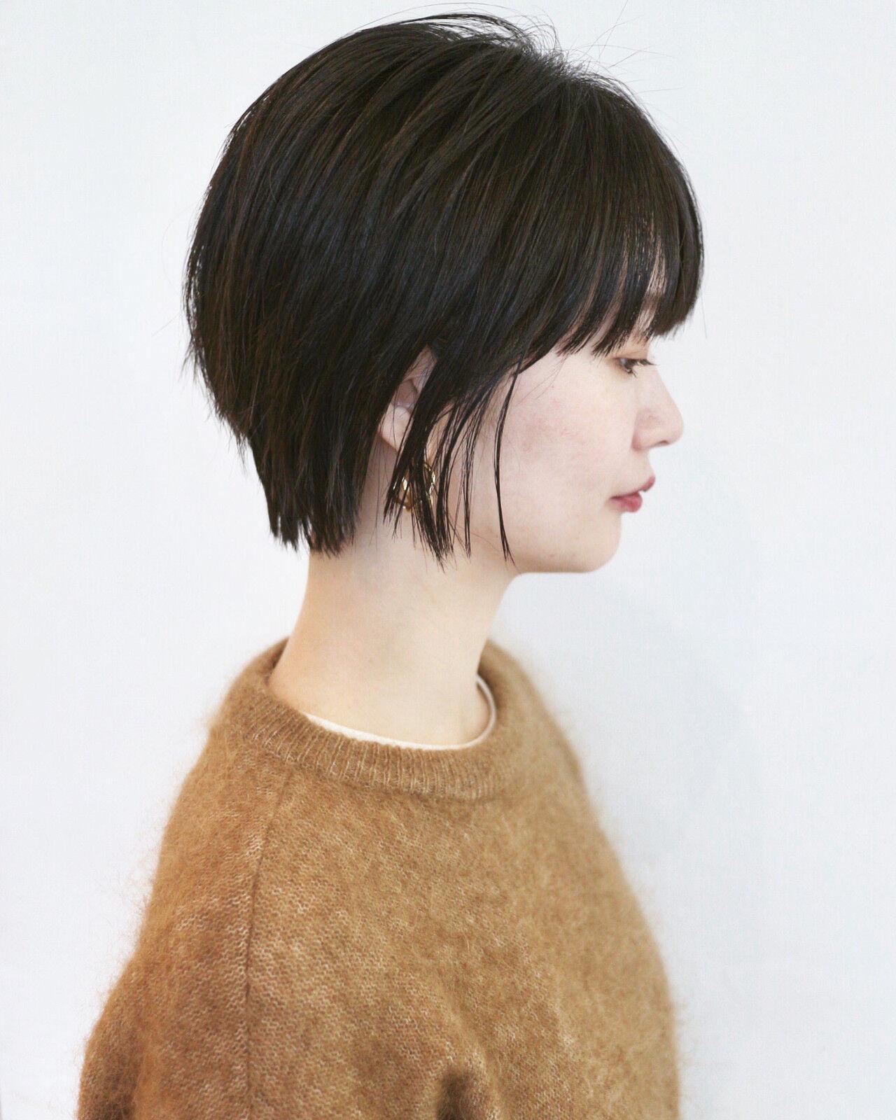 マッシュ 黒髪ショート ナチュラル ウルフカットヘアスタイルや髪型の写真・画像