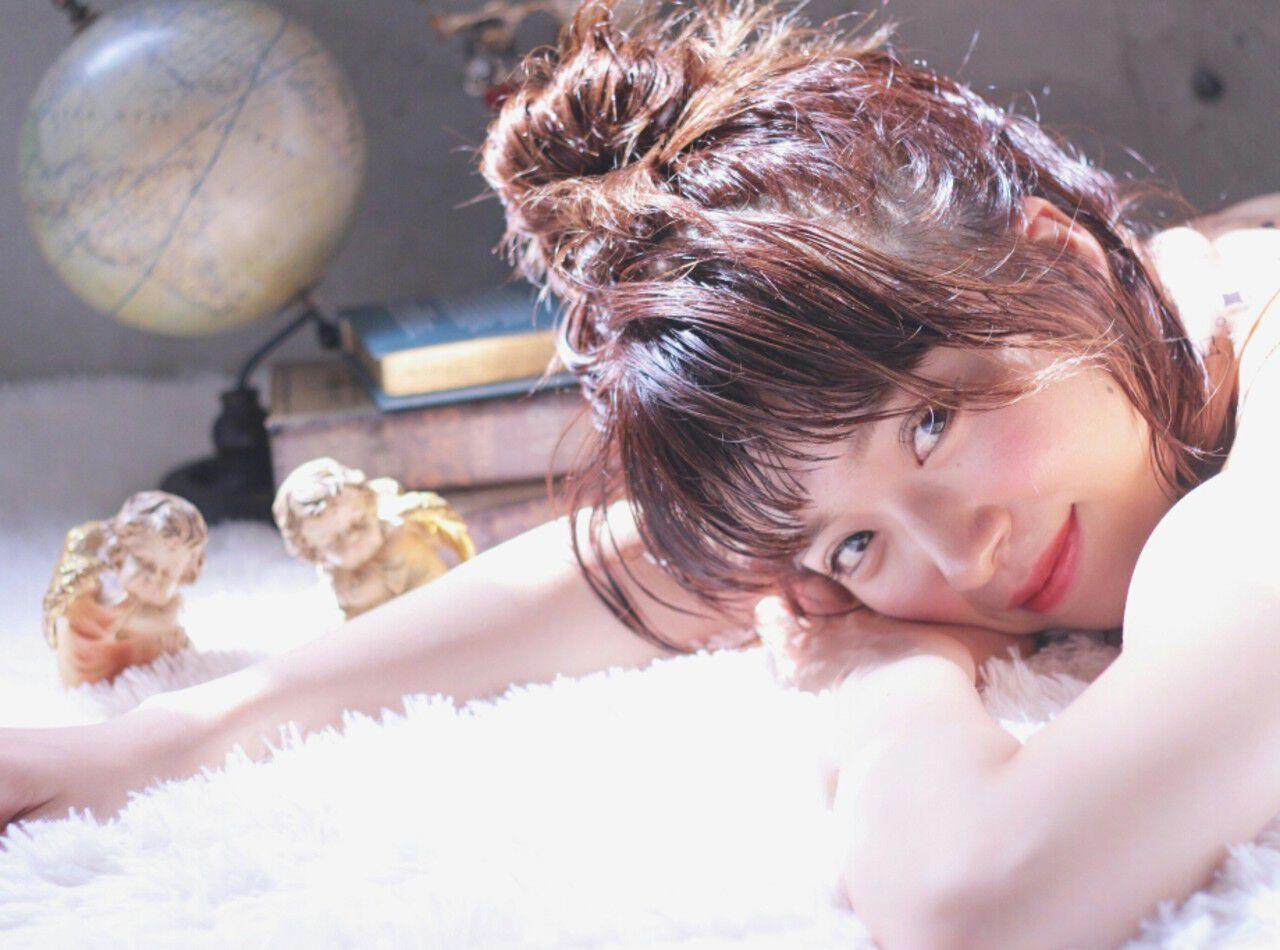 ヘアアレンジ ウェットヘア 簡単ヘアアレンジ ガーリーヘアスタイルや髪型の写真・画像