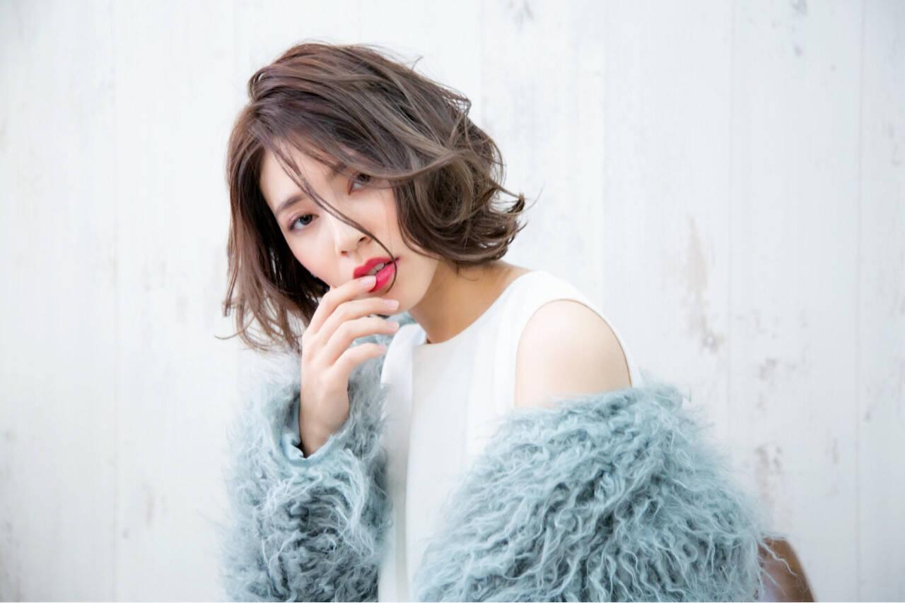 フェミニン 秋 ボブ 冬ヘアスタイルや髪型の写真・画像